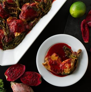 Slow-Cooker Cactus Pear Chicken with Broccoli Rabe